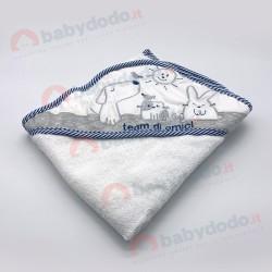 AB 4240B Accappatoio neonato blu grigio
