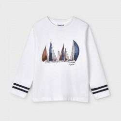 3053 Maglietta manica lunga barche bianco